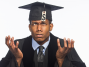 Graduate Student with Money Tag Thinking About Loan Debt