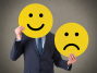Happy and Sad Face Over Businessman